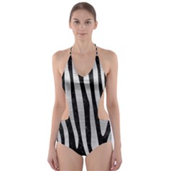 SKN4 BK MARBLE SILVER (R) Cut-Out One Piece Swimsuit