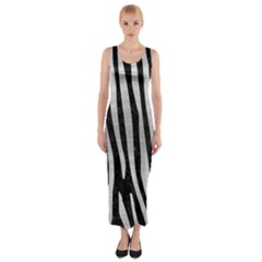 SKN4 BK MARBLE SILVER (R) Fitted Maxi Dress