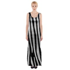 SKN4 BK MARBLE SILVER (R) Maxi Thigh Split Dress