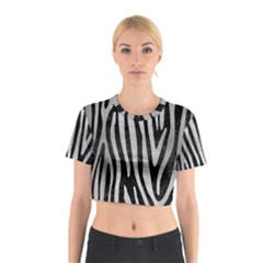 Skin4 Black Marble & Silver Brushed Metal (r) Cotton Crop Top