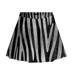 Skin4 Black Marble & Silver Brushed Metal (r) Mini Flare Skirt