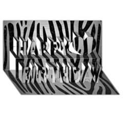 Skin4 Black Marble & Silver Brushed Metal Happy Birthday 3d Greeting Card (8x4)