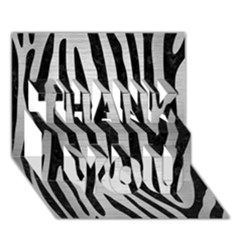 Skin4 Black Marble & Silver Brushed Metal Thank You 3d Greeting Card (7x5)