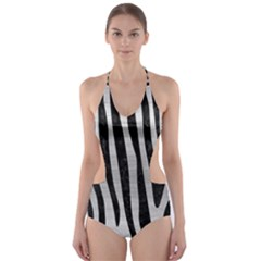 Skin4 Black Marble & Silver Brushed Metal Cut Out One Piece Swimsuit