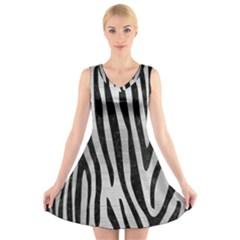 SKN4 BK MARBLE SILVER V-Neck Sleeveless Skater Dress