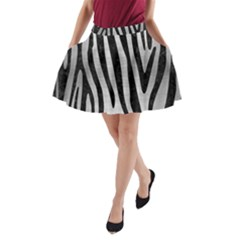 Skin4 Black Marble & Silver Brushed Metal A Line Pocket Skirt
