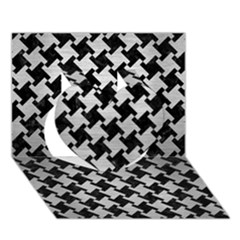 Houndstooth2 Black Marble & Silver Brushed Metal Heart 3d Greeting Card (7x5)