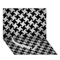 Houndstooth2 Black Marble & Silver Brushed Metal Heart Bottom 3d Greeting Card (7x5)