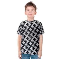 Houndstooth2 Black Marble & Silver Brushed Metal Kids  Cotton Tee