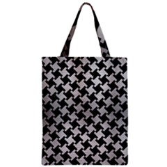 Houndstooth2 Black Marble & Silver Brushed Metal Zipper Classic Tote Bag