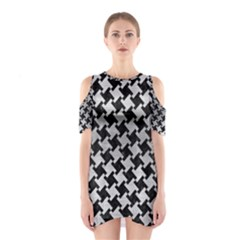 Houndstooth2 Black Marble & Silver Brushed Metal Shoulder Cutout One Piece