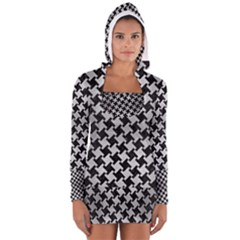 Houndstooth2 Black Marble & Silver Brushed Metal Long Sleeve Hooded T Shirt