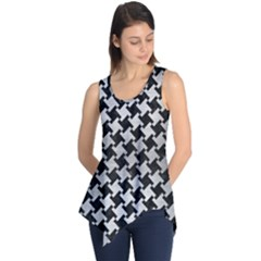 Houndstooth2 Black Marble & Silver Brushed Metal Sleeveless Tunic