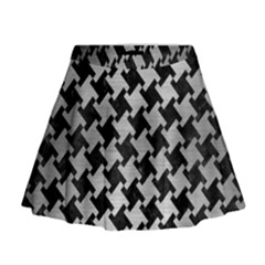 Houndstooth2 Black Marble & Silver Brushed Metal Mini Flare Skirt