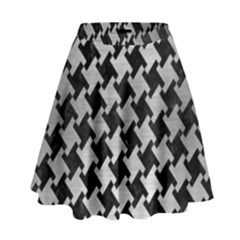 Houndstooth2 Black Marble & Silver Brushed Metal High Waist Skirt
