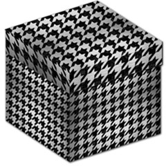 Houndstooth1 Black Marble & Silver Brushed Metal Storage Stool 12