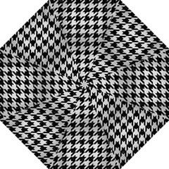 Houndstooth1 Black Marble & Silver Brushed Metal Hook Handle Umbrella (large)