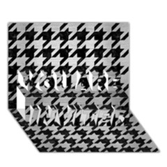 Houndstooth1 Black Marble & Silver Brushed Metal You Are Invited 3d Greeting Card (7x5)