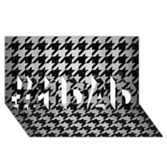 Houndstooth1 Black Marble & Silver Brushed Metal #1 Dad 3d Greeting Card (8x4)