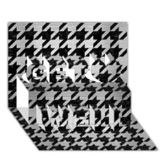 Houndstooth1 Black Marble & Silver Brushed Metal Get Well 3d Greeting Card (7x5)