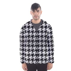 Houndstooth1 Black Marble & Silver Brushed Metal Hooded Wind Breaker (men)