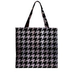 Houndstooth1 Black Marble & Silver Brushed Metal Zipper Grocery Tote Bag