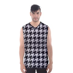 Houndstooth1 Black Marble & Silver Brushed Metal Men s Basketball Tank Top
