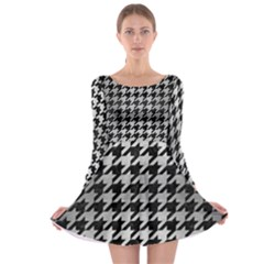 Houndstooth1 Black Marble & Silver Brushed Metal Long Sleeve Skater Dress