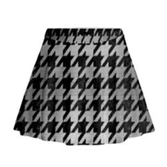 Houndstooth1 Black Marble & Silver Brushed Metal Mini Flare Skirt