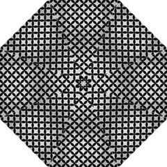 Circles3 Black Marble & Silver Brushed Metal (r) Hook Handle Umbrella (medium)