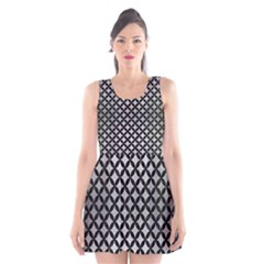 Circles3 Black Marble & Silver Brushed Metal (r) Scoop Neck Skater Dress