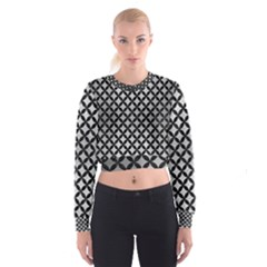 Circles3 Black Marble & Silver Brushed Metal (r) Cropped Sweatshirt