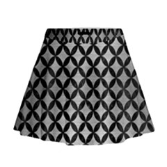 Circles3 Black Marble & Silver Brushed Metal (r) Mini Flare Skirt