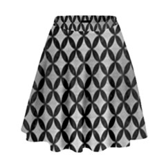 Circles3 Black Marble & Silver Brushed Metal (r) High Waist Skirt