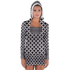 CIR3 BK MARBLE SILVER Women s Long Sleeve Hooded T-shirt
