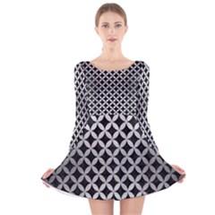 Cir3 Bk Marble Silver Long Sleeve Velvet Skater Dress