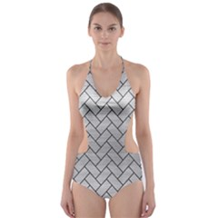 BRK2 BK MARBLE SILVER (R) Cut-Out One Piece Swimsuit