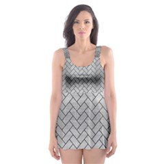 BRK2 BK MARBLE SILVER (R) Skater Dress Swimsuit