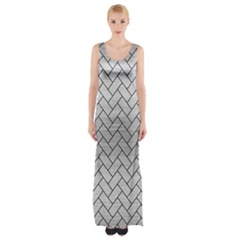 Brick2 Black Marble & Silver Brushed Metal (r) Maxi Thigh Split Dress