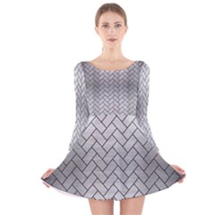 Brick2 Black Marble & Silver Brushed Metal (r) Long Sleeve Velvet Skater Dress