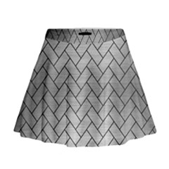 Brick2 Black Marble & Silver Brushed Metal (r) Mini Flare Skirt