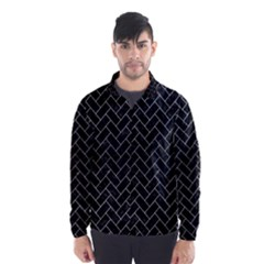 Brick2 Black Marble & Silver Brushed Metal Wind Breaker (men)