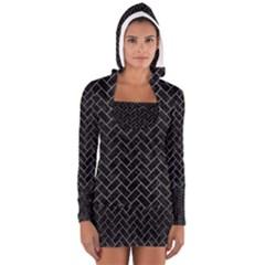 BRK2 BK MARBLE SILVER Women s Long Sleeve Hooded T-shirt