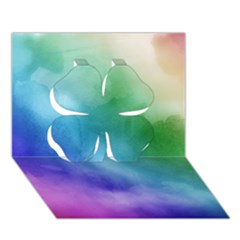 Rainbow Watercolor Clover 3d Greeting Card (7x5)