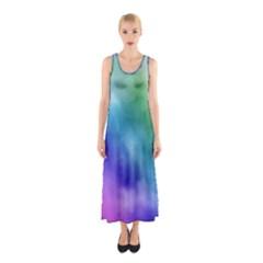 Rainbow Watercolor Full Print Maxi Dress
