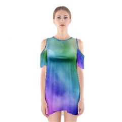 Rainbow Watercolor Cutout Shoulder Dress