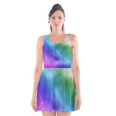 Rainbow Watercolor Scoop Neck Skater Dress