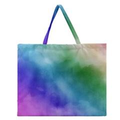 Rainbow Watercolor Zipper Large Tote Bag