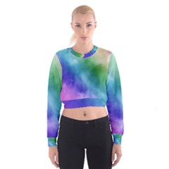 Rainbow Watercolor Women s Cropped Sweatshirt