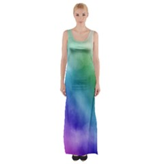 Rainbow Watercolor Maxi Thigh Split Dress